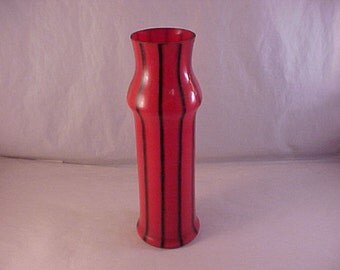 Glass Vase Reddish Orange With Black Stripes