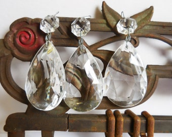 10 vintage Crystal Prisms Glass teardrop Double faceted Chandelier Light lamp supplies
