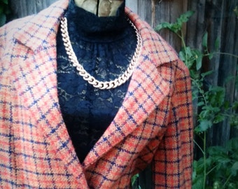 Womens Medium wool blend lined jacket, navy, spiced orange cape, buttons, pockets, vintage 60s