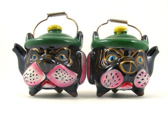 Vintage Salt and Pepper Shakers Redware Pottery Bulldog Tea Kettles Dog Salt and Pepper Made in Japan Collectible Salt and Pepper Shakers