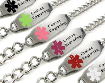 Medical Alert Bracelet, Red, Custom ENGRAVED FREE, Kids & Adult - i2C-BS1