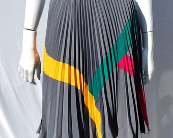 Vintage 80's polyester pleated skirt color strips French made in Paris sexy fun skirt Modern by thekaliman