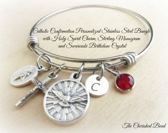Catholic Confirmation Personalized Holy Spirit Stainless Steel Bangle with Monogram Charm and Swarovski Birthstone Crystal