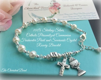 Heirloom Personalized Catholic Communion Freshwater Pearl, Swarovski Crystal and Sterling Silver Rosary Bracelet - All Parts 100% Sterling