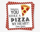 Pizza Valentine Tag, Valentine's Day Pizza My Heart Tag, You Stole A Pizza My Heart Card, Pizza Cookie Valentine, Personalized