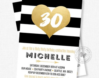 Black and Gold Invitations, Dirty Thirty Invitation, 30th Birthday Invitation, Gold Foil Invitation, Adult Birthday Invitation
