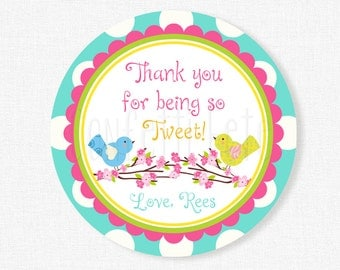 Bird Favor Tags, Bird Party Tags, Girl Birthday Party Favors, Little Birds Theme Tag, Cherry Blossoms Tag, Personalized