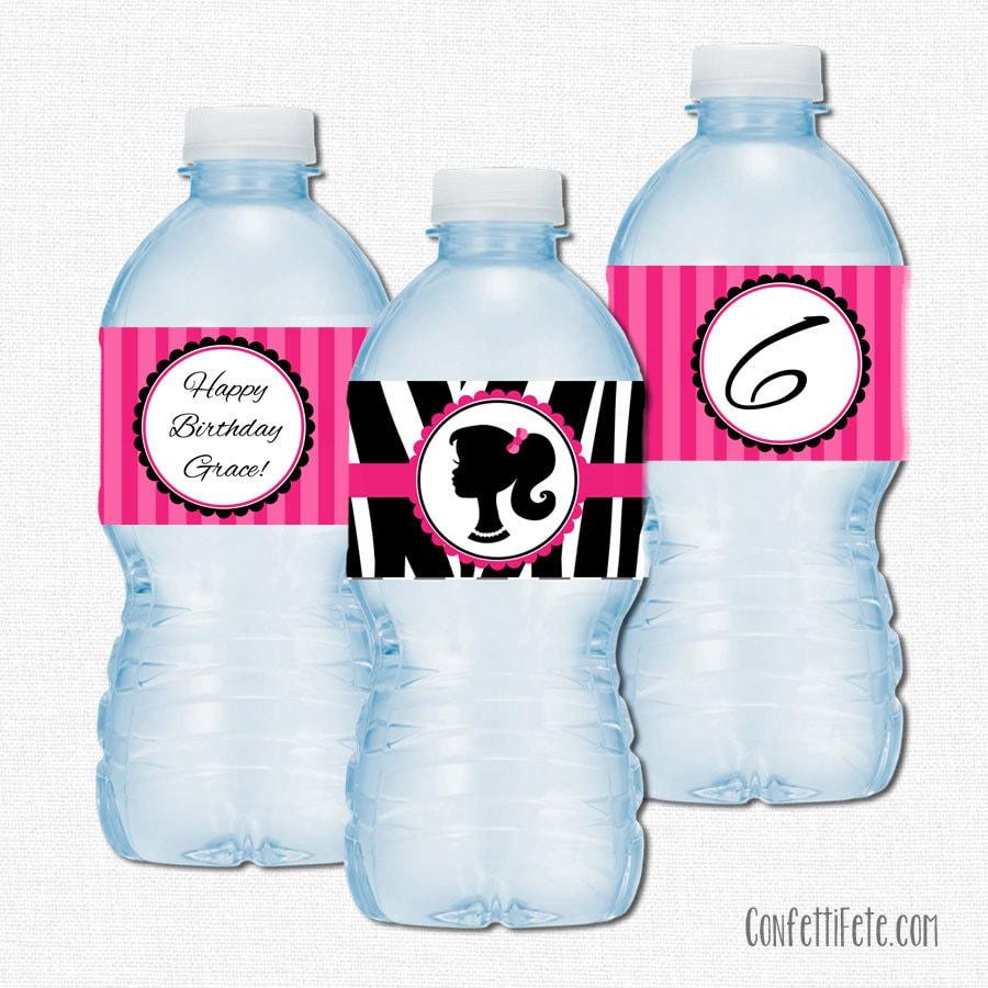 Glamour Girl Water Bottle Labels Water Bottle Label Wraps