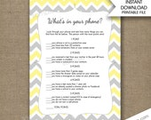 Yellow Gray What's in your phone baby shower game, phone game, instant download, cell phone game bridal shower games