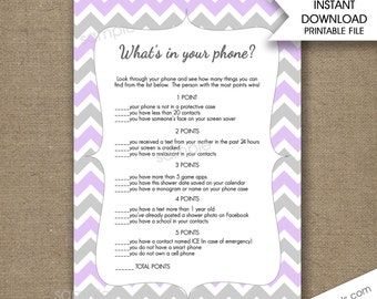 lavender what 39 s in your phone baby shower game phone game instant