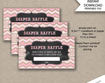 Rustic Baby Shower Diaper Raffle Tickets, girl Baby Shower raffle tickets, instant download, DIY baby shower games, printable