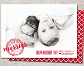 "Christmas Birth Announcement Card, Photo Holiday Card: PRINTABLE (""The More the Merrier"" Christmas custom card)"