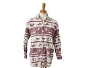 BLOWOUT 40% off sale Vintage 80s Western Rancher Novelty Print Shirt - Women Small - Carolina Colours