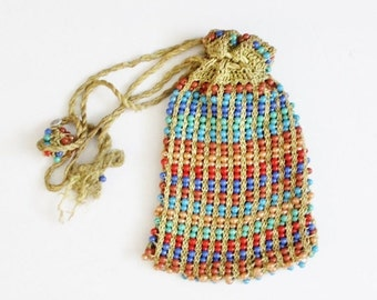 30% off sale // Vintage 40s does 20s Beaded Purse with Drawstring Tassels, Rainbow Beads