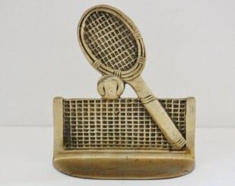 Vintage 60s Brass Tennis Racket Single Bookend Figurine - sporty, library decor