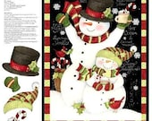 Hooray For Snow Snowman Christmas Quilt Panel Susan Winget Plus Backing
