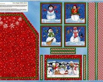 1 Panel Christmas Quilt Fabric Kids Apron Panel Snow Magic Christmas