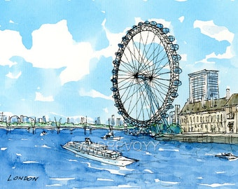 London Eye Thames 2nd art print from an original watercolor painting