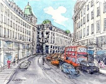 London Regent Street 3  art print from an original watercolor painting