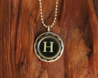 The Letter H Vintage Typewriter Key Pendant Necklace