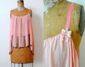 Vintage 1920s Art Deco/Flapper beaded top/Pastel pink/Butterfly appliqué/Shabby pink/Ribbon straps/Great Gatsby
