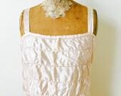 Vintage 1920s Damask Silk Camisole/Pastel Champagne pink/Ribbon straps