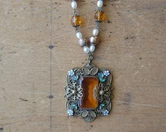 Vintage 1930s Czech amber glass enamel necklace ∙ Art Deco glass necklace