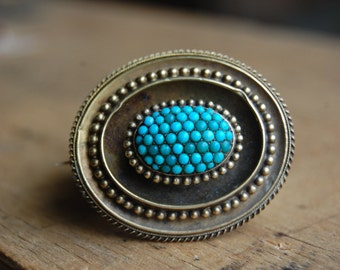 Victorian turquoise pavé memorial brooch with locket ∙ Etruscan Revival turquoise studded brooch
