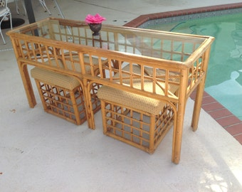 RATTAN CONSOLE and BENCHES / Ficks Reed Style Console with Matching Benches / Natural Rattan Palm Beach Chic Style at Retro Daisy Girl