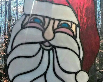 Jolly stained glass Santa Claus