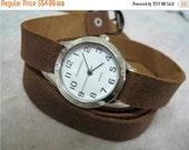 Leather Watch-Women wrist watch-Bracelet wrap Watch Leather Wrap Watch Silver Bracelet Antique Watch- brown Genuine leather retro Watch