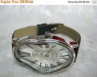 Leather Watch-Women wrist watch-Bracelet wrap Watch Gold Ladies Watch Dali Fluid Leather Wrap Watch Leather Accessories -  Leather Watches