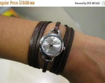 Leather Watch-Women wrist watch-Bracelet wrap Watch Delicate Elegant Thin Brown Leather Wrapped Silver Gold Leather Watch Accessories