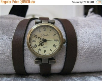 Leather Watch-Women wrist watch-Bracelet wrap Leather Watch Wrap Watch Leather Accessories - Antique Wrist Watches - Leather Watches
