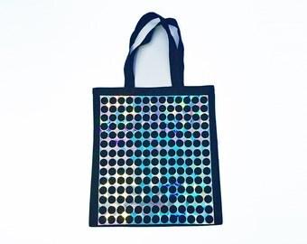 Hologram Iridescent Bag | Holographic Silver Rainbow Printed Tote | Black Iridescent Shimmer Shoulder Shopping Bag
