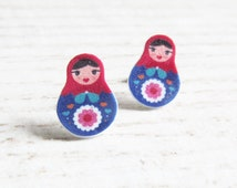 Small, russian doll, matriochkas, earrings, plastic, red, blue, stainless stud, handmade, les perles rares