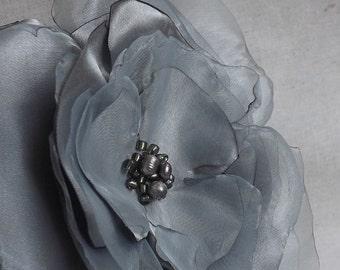 Oversized Flower Brooch or Fascinator in Grey Satin & Organza