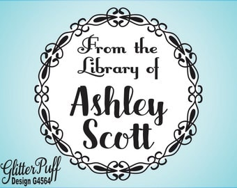 Library Stamp - Custom Bookplate Stamp - Personalized Book Stamp Gift - Calligraphy Book Stamp (4564) Pretty Sweet 16 Party Gift