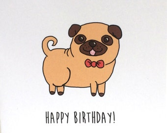 Pug Birthday Card, Birthday Card from the Dog, Birthday Card from the Pug, made on recycled paper, comes with envelope and seal