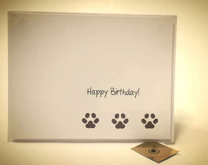 Happy Birthday Card, from the dog Card, hand punched card, made on recycled paper, comes with envelope and seal