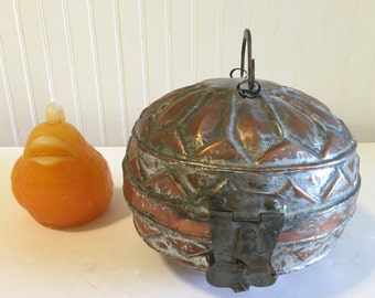 TURKISH METAL LUNCHBOX Vintage Round Mid Eastern Lunchbox Copper Lunch Pair Moroccan Decor at Modern Logic