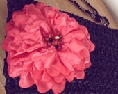 Large Satin Purse Wristlet w Beaded Coral Flower - Completely Handmade - Made to Order