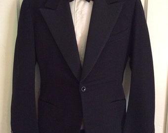 1920's Black Fine Wool Single Button Tuxedo Gatsby Jacket loos size S Slim Fit