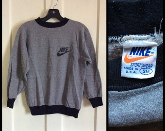 1970's Nike Gray Black Ringer Sweatshirt Orange Tag made in USA Swoosh size S