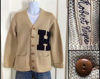1940's Letter H Varsity Wool Cardigan Sweater with Bakelite buttons looks size Medium Embroidered name Patch Robert Keyes Tan