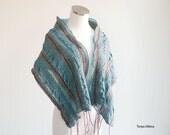 Hand felted scarf in teal, purple and beige wrap - OOAK