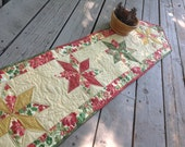 Christmas Stars 13x56 quilted table runner with shimmer