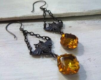 Bee Earrings, Dark Patina Brass, Bumble Bee Earrings, Honey Earrings, Vintage Glass Settings, Honey Bee Earrings, Bee Jewelry, Bug Earrings