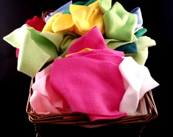 multi color rainbow fleece fabric scraps destash CLEARANCE