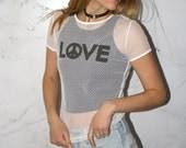 Vintage 90's White Mesh T-Shirt
